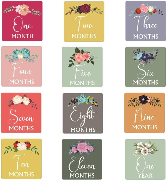 SYGA Flower Design Baby Monthly Growth Milestones Cards - Set of 12 Pieces Greeting Card