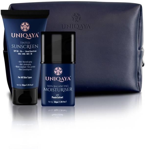 UNIQAYA Everyday Essentials- Ultra Hydrating & Skin Balancing Moisturiser, 50 gm + Tinted Broad Spectrum Sun Protection Sunscreen with SPF 50, PA+++, 50gm + Ultra Hydrating Skin Balancing Moisturiser, 50gm