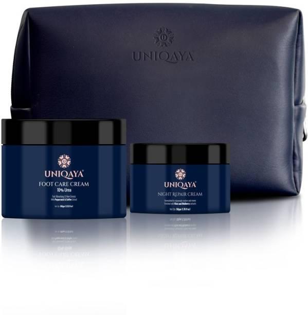 UNIQAYA Beauty Sleep Regimen- Nourishing and Skin Rejuvenating Night Repair Cream, 50 gm + Repairing and Deep Moisturizing Foot Care Cream, 100 gm