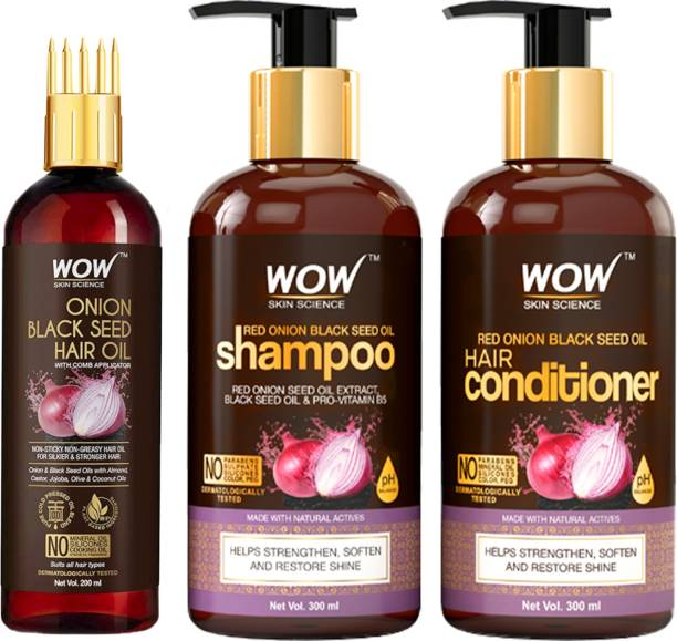 WOW SKIN SCIENCE Red Onion Black Seed Oil Ultimate Hair Care Kit (Shampoo + Hair Conditioner + Hair Oil With Comb)