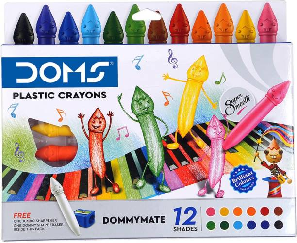 DOMS Dommymate Plastic Crayon 12 Shades