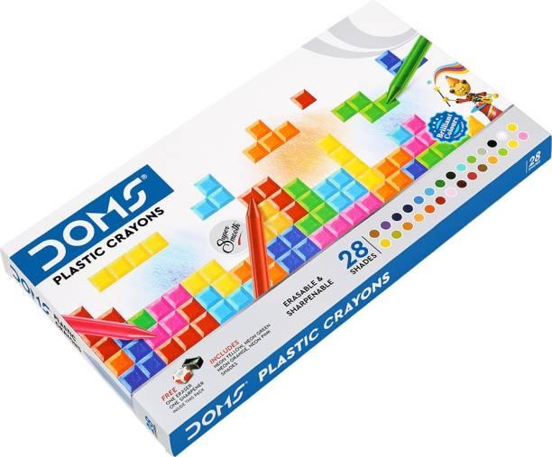 DOMS Plastic Crayon 28 Shades Box