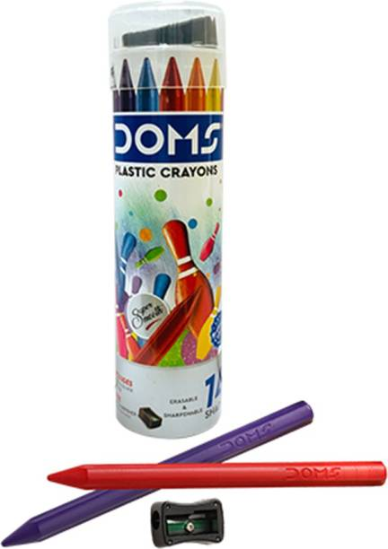 DOMS Plastic Crayon 14 Shades Round Tin
