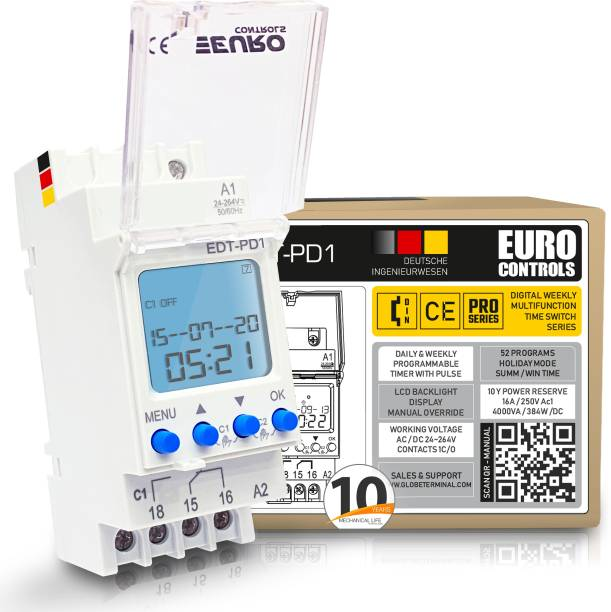 Euro Controls EDT-PD1 German - 24 to 265 V AC / DC - LCD Backlit - 50 Programs Daily/Weekly/Pulse/Holiday modes - Battery Reserve Programmable Electronic Timer Switch
