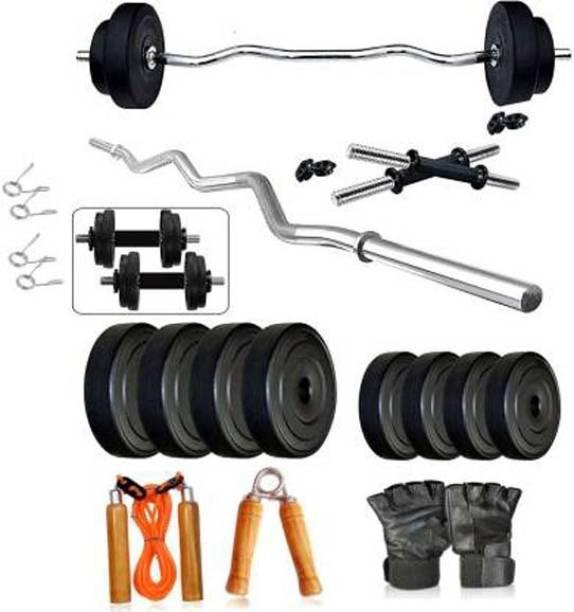 Mahadev Sports 08 Kg Pvc Home Gym Set with curl bar Gym & Fitness Kit