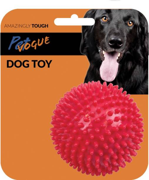 PetVogue Spiky Squeaker Ball Dog Toy Plastic Ball For Dog & Cat