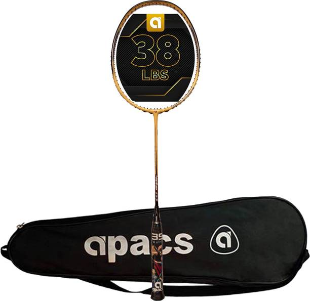 apacs Turbo power 996 Unstrung Graphite Badminton Racquet, 38 LBS Mega Tension Yellow, Black Unstrung Badminton Racquet
