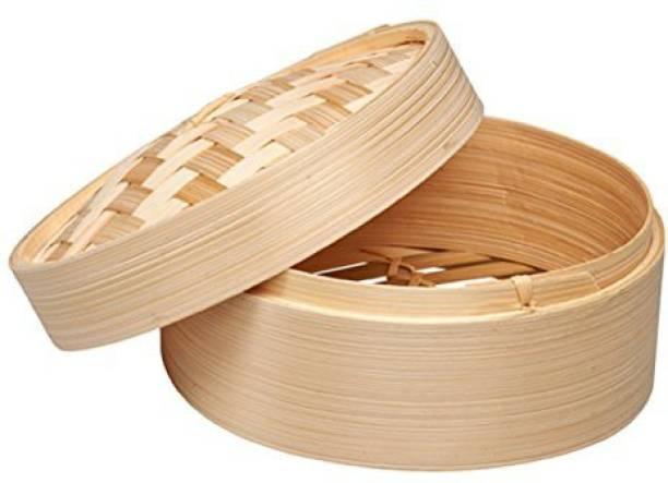 TREEMAISON 10-Inch Round Dimsum Basket Wooden Steamer/Momos Steamer Bamboo Steamer