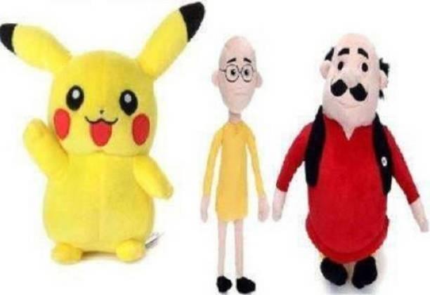 MARUTI ENTERPRISES Pikachu with Motu Patlu Combo Soft Toy Stuffed for Kids 28cm + 28cm Yellow Pikachu with Red & Yellow Motu Patlu Colour  - 28 cm