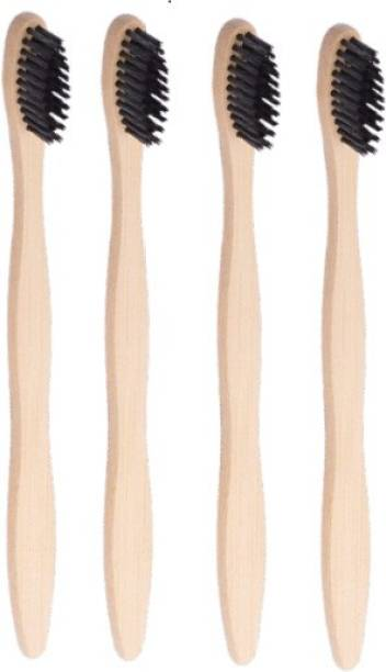 Just Beleaf in Bamboo Toothbrush Charcoal Activated Soft Bristles Biodegradable (Pack Of 4) Medium Toothbrush