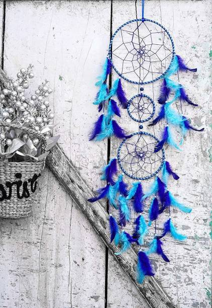 ILU Dream Catchers, Home Decor, Handmade Dreamcatcher for Bedroom, Balcony, Garden, Party, Cafe, Small Ring Beaded Blue & Light Blue Feathers, 17cm Diameter, Length 80cm Iron, Feather Dream Catcher