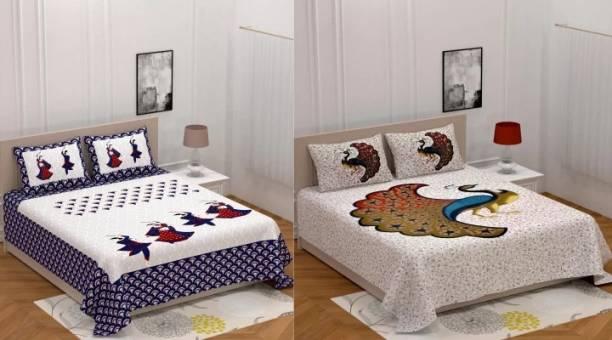 DHAKAD 150 TC Cotton Double King Jaipuri Prints Bedsheet