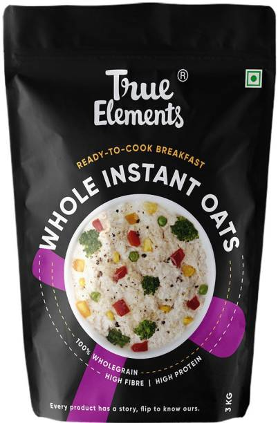 True Elements Whole Instant Oats, 100% Wholegrain High Fibre Breakfast