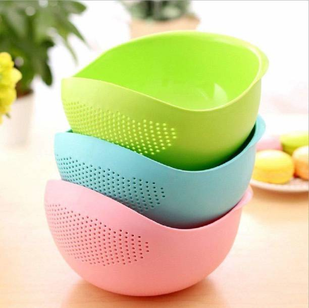 Creation Hub Rice Bowl Set of 3   Plastic Rice Pulses Fruits Vegetable Noodles Pasta Washing Bowl and Strainer for Storing and Straining ( Multicolor )   Creation Hub   Best Quality Hard Plastic Disposable Vegetable Bowl