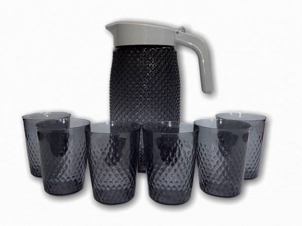 ROYAL PARAS PLASTIC JUG WITH 6 GLASSES Jug Glass Set
