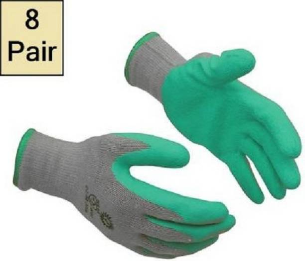 RBGIIT 8 Pair Grey And Green Rubber Cotted Gloves For Speacil Kitchen Workers In Indrustrial Heavy Contrction Labourer Non Cutting Cut Restitance Heat Water Unbraekble Safety Gloves For Safe Hand Rubber  Safety Gloves