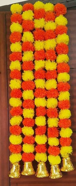 AlphaLighting Artificial Marigold Fluffy Flowers and Golden Hanging Bells Torans for Decoration Approx 4.5 ft- Pack of 5 Strings(Multicolour) Toran