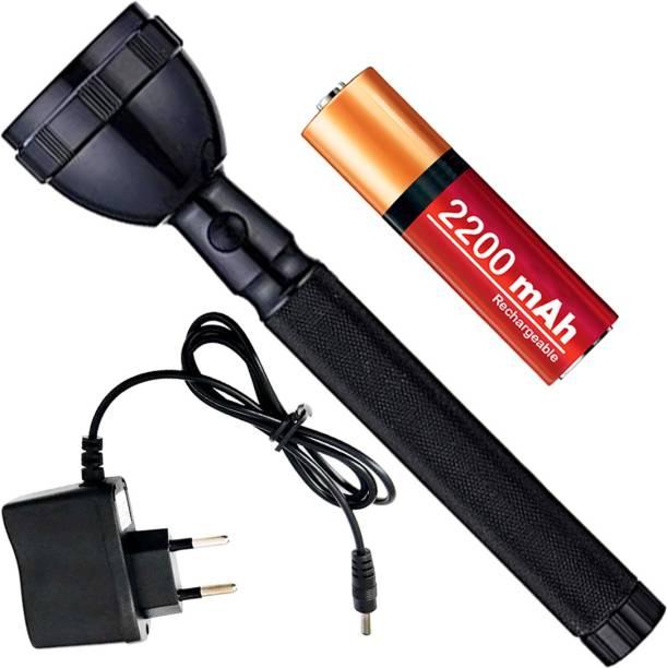 OT SUPER Rechargeable 2 Mode 700 Meter Long Range Waterproof LED Outdoor Lamp Search Light 2W Flashlight Torch Lamp Emergency Light 2200 mAh Battery Torch