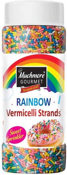 Muchmore Gourmet Rainbow Sprinkler Strands | Multi Colored Baking Decorative Cake Sprinkles ||Rainbow Sprinkles for Cake Decoration | Vermicelli Sprinkles, Toppings Rainbow Sugar Fancy Strands | Cake Sev (175 gm) Sprinkles