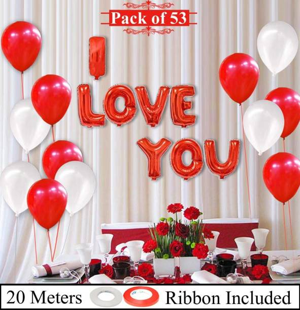 DECOR MY PARTY Solid I LOVE YOU Foil Balloon Combo With Metallic Balloons & Curling Ribbon For Proposal / Valentines Day / Wedding Anniversary Couple / Love Party Decoration Letter Balloon