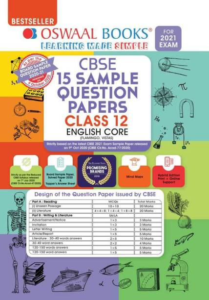 Oswaal Cbse Sample Question Paper Class 12 English Core Book (Reduced Syllabus for March 2021 Exam)