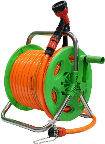 AquaHose Garden Hose Reel Orange 30mtr (12.5mm ID) Hose Pipe Vehicle Brake Cleaner