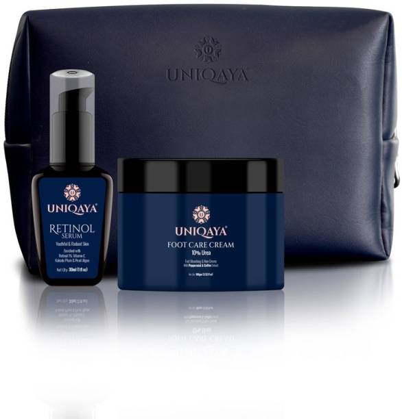 UNIQAYA Repairing & Renewing Formula- Skin Plumping Retinol Serum with Vitamin E, 30ml + Repairing and Deep Moisturizing Foot Care Cream, 100 gm