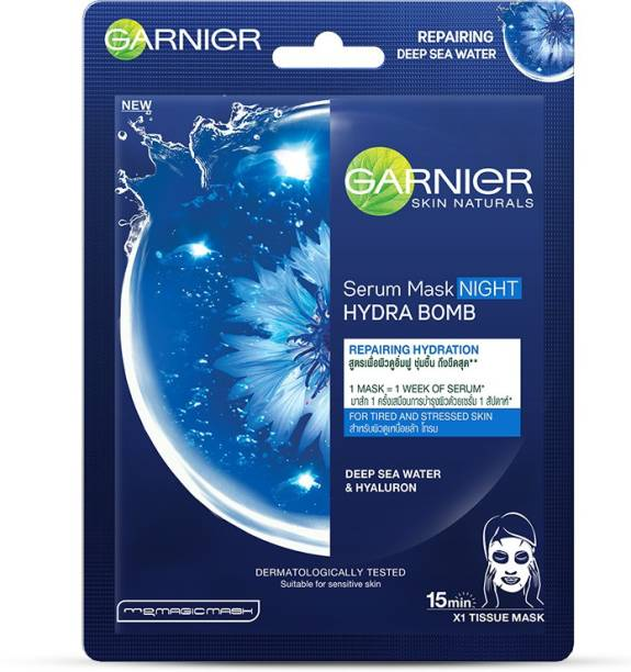 GARNIER Skin Naturals Night Serum Sheet Mask with Deep Sea Water - For Tired & Stressed Skin