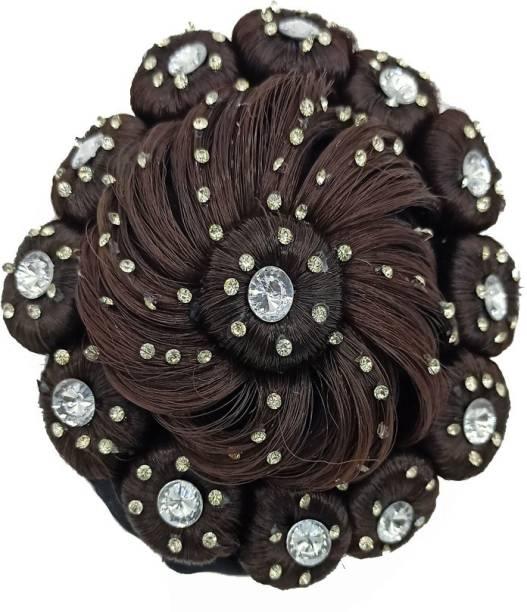Shining Angel Stone Black Juda Bridal Wedding Hair Extension Bun
