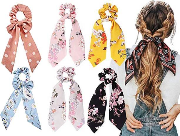 Loveloom Lovelom Hair Scrunchies Silk Satin Scarf Hair Ties Elastic Hair Bands Ponytail Holder Flower Printed Hair Bobbles Vintage Accessories for Women Girls pack of 6 Hair Band (Multicolor) Hair Band