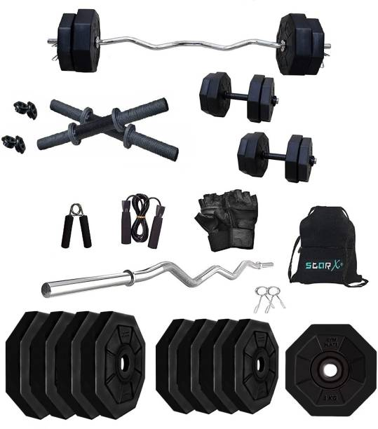 Star X 50 kg 50Kg Hexa PVC weight with 3ft Curl Rod and Accessories Home Gym Combo