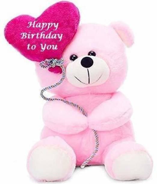 eston Soft Toys Dolls Lovable Balloon Teddy Bear with I Love U Heart Gift for Birthday Valentine Girlfriend Boys Girls Kids ( Pink 29.5 cm ) - 29.5 cm (Pink)  - 29.5 cm