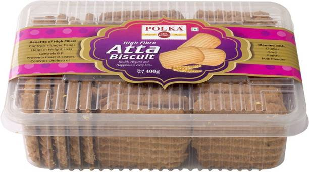 Polka HIgh Fibre Atta Cookies ,Health ,Hygiene and Happiness in every Bite ,Pack Of 1 ,400 Gm Cookies