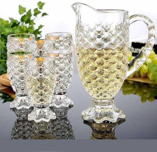 RKT 0.5 L Water Crystal Glass 1 Jug (1.5 L) and Set of 6 Glass Pineapple Design (250 ml) Each Pitcher