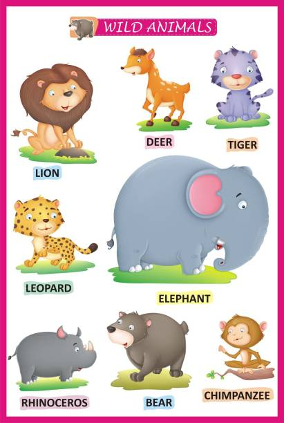 Animal Names Learning For Kids | Wild Animals Name A3 Size
