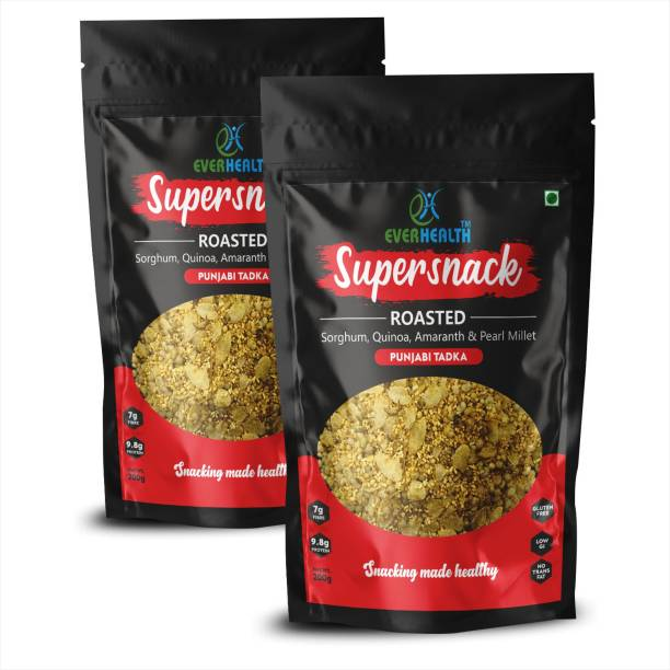 EVERHEALTH Supersnack - Roasted: Sorghum, Quinoa, Amaranth & Pearl Millets - Punjabi Tadka Flavour - Pack of 2 (200g Each) | Gluten Free | High Protein | High Fibres | Low Fat