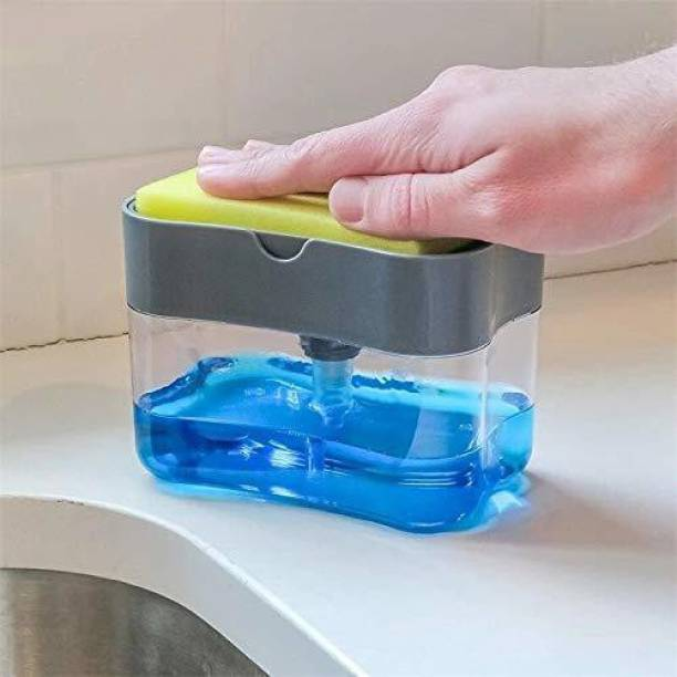 SunnShi Mart 2 in 1 Soap Pump Plastic Dispenser for Dishwasher Liquid with 1 sponge 385 ml Liquid Dispenser