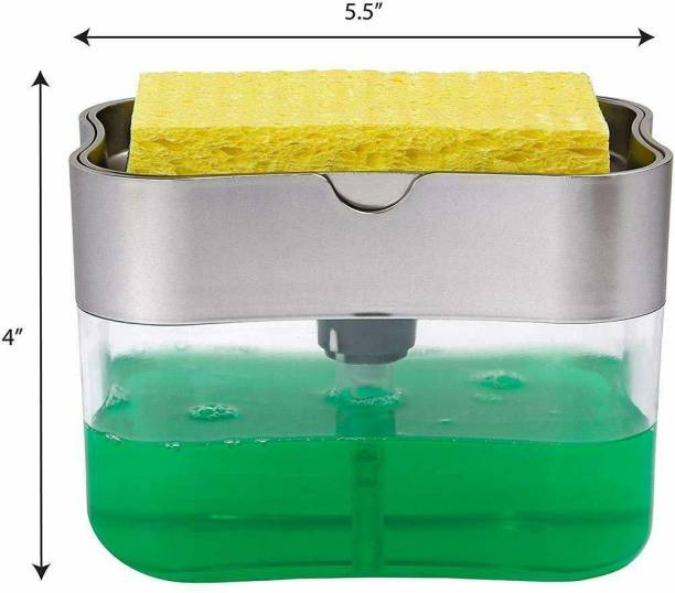 Lariox Plastic Liquid Soap Press-Type Pump Dispenser with Sponge Holder for Kitchen Sink Dishwasher
