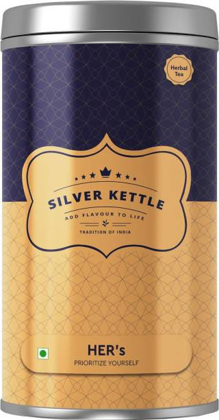 SilverKettle HER'S Herbal Tea for Active Women and Monthly Issues | Chamomile, Cinnamon, Peppermint, Cardamom Herbal Tea Tin