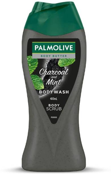 PALMOLIVE Charcoal & Mint Body Wash for Men & Women, Shower Gel with Natural Charcoal Powder and Mint Oil (Body Scrub) - pH Balanced, No Parabens, No Silicones