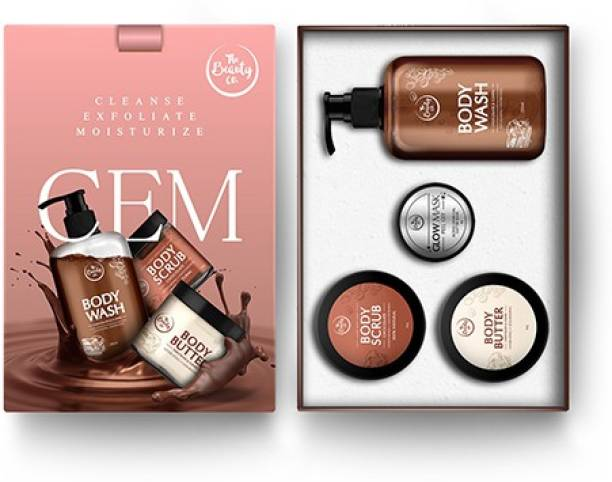 The Beauty Co. ChoCo Cleansing-Exfoliating-Moisturizing Kit for Naturally Glowing Skin (Body Scrub + Body Wash + Body Butter)