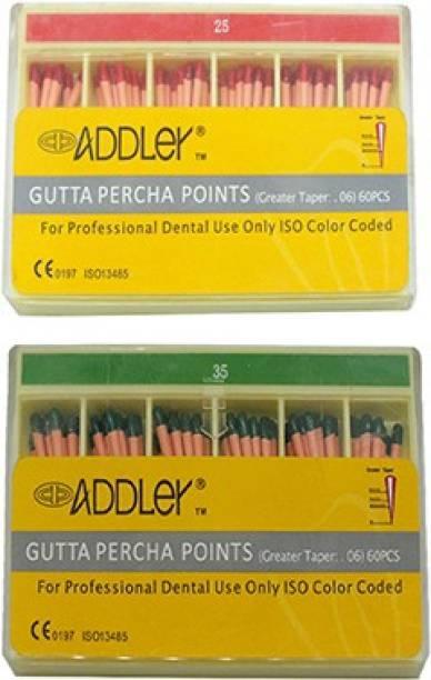 ADDLER DENTAL GUTTA PERCHA POINTS 6% (2X60 Sticks Each) SIZES:- 25, 35. TOTAL 2 PKTS
