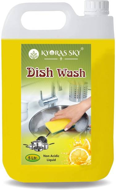 KYORAS SKY Dish Washing Gel For Removing Stain, oil ,Grease and Bacteria.(lemon 10l ) Dish Cleaning Gel (lemon, 2 x 5 L) Dishwash Bar (10 kg) Dishwash Bar