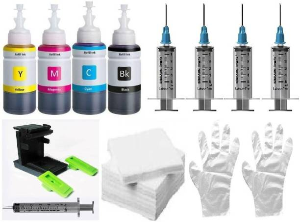 Ang Refill kit Compatible Dye ink for HP cartridge 805, 803, 680, 678, 682, 818, 802, 901, 703, 704, 46, 21, 22, 27, 28, 56, 57, canon 88, 98 Cartridges 4 Refill ink bottle_With 5 Syringe & 1 nos Suction Tool Kit set 2 set hand glove ND tissue paper Black + Tri Color Combo Pack Ink Cartridge