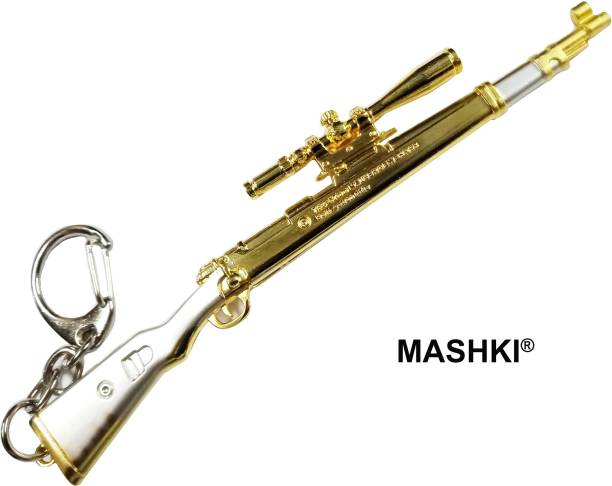 MASHKI PUBG Golden KAR98 Sniper Gun Keychain Key Ring Chain for Bike & Bags Key Chain