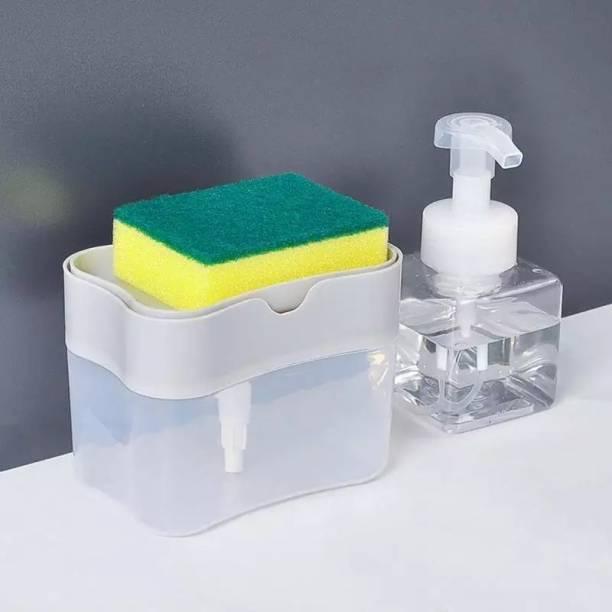 RV kitchenware Premium quality Liquid soap dispenser with sponge holder 2 in 1 design 385 ml Liquid Dispenser