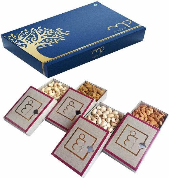 Maalpani Dry Fruit Wooden Gift Box | Decorative Box for Gift Hamper | Diwali | Festival | Events | Days | Occasion | Birthday | Anniversary | Rakhi | Valentine Day | Dryfruit Box 200g Almonds, Cashews, Raisins, Pistachios