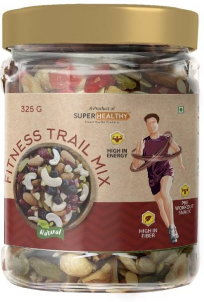 Super Healthy Fitness Trail Mix - Roasted Mixed Nuts and Berries | Pre Workout Snack | Premium Organic Nutmix | 5+ Varieties Like Almonds, Pistachios, Apricots, Cranberries