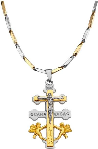 Sullery Christmas Gift Cubic Zirconium Crystal Lord Holy Jesus Christ Crucifix Gold-plated Stainless Steel Pendant Set