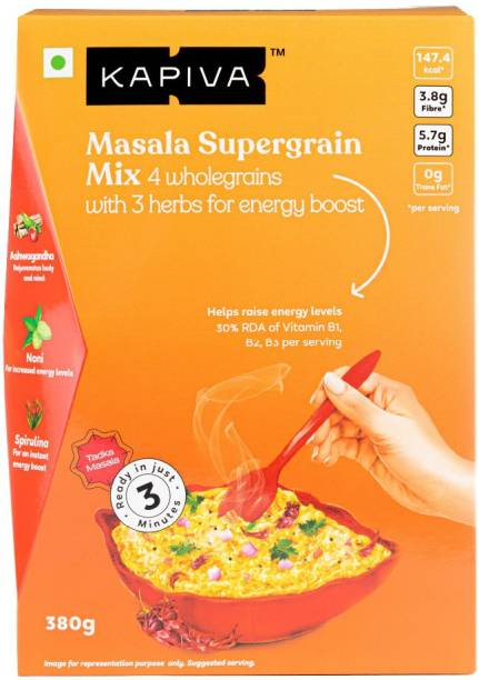 Kapiva Tangy Masala Supergrain Oats | Blend of 3 Ayurvedic Herbs and 4 Whole grains for Daily Wellness | Pack of 10 sachets 380 g